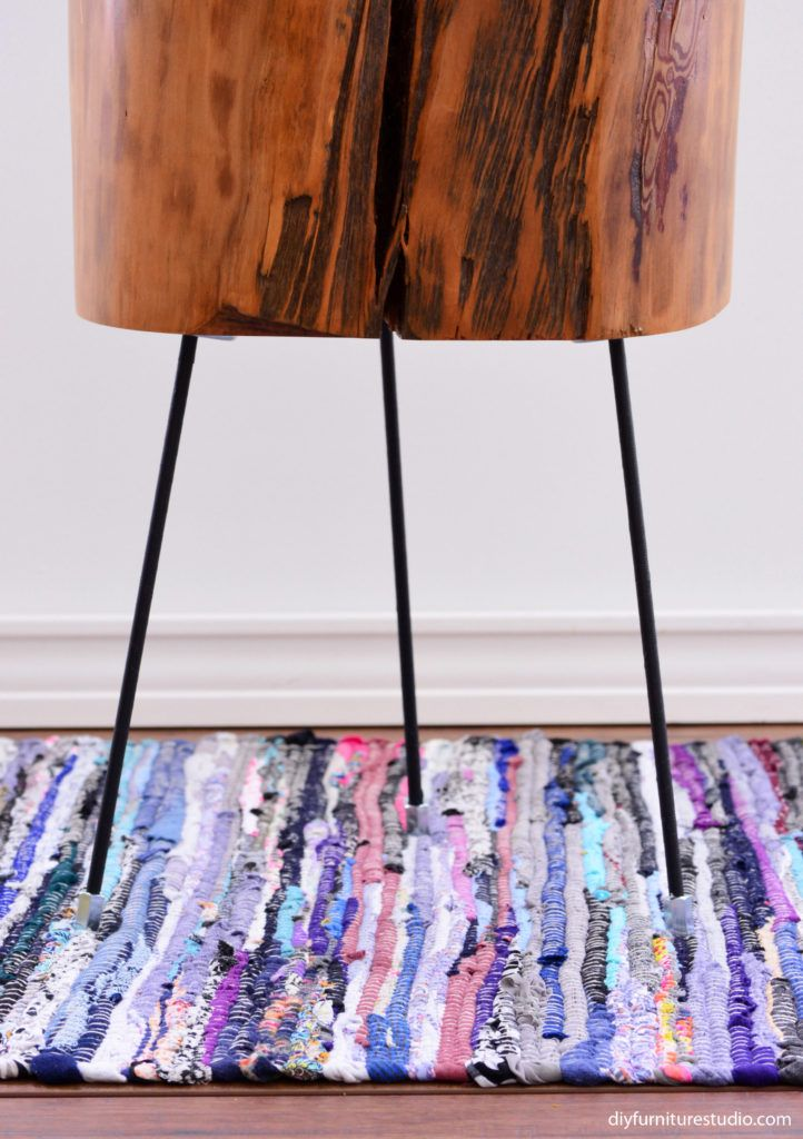 Diy Furniture Legs Made Of Threaded Rods Washi Tape And Hex Coupling Nuts By Diy Furniture Studi Tree Stump Side Table Furniture Legs Diy Furniture