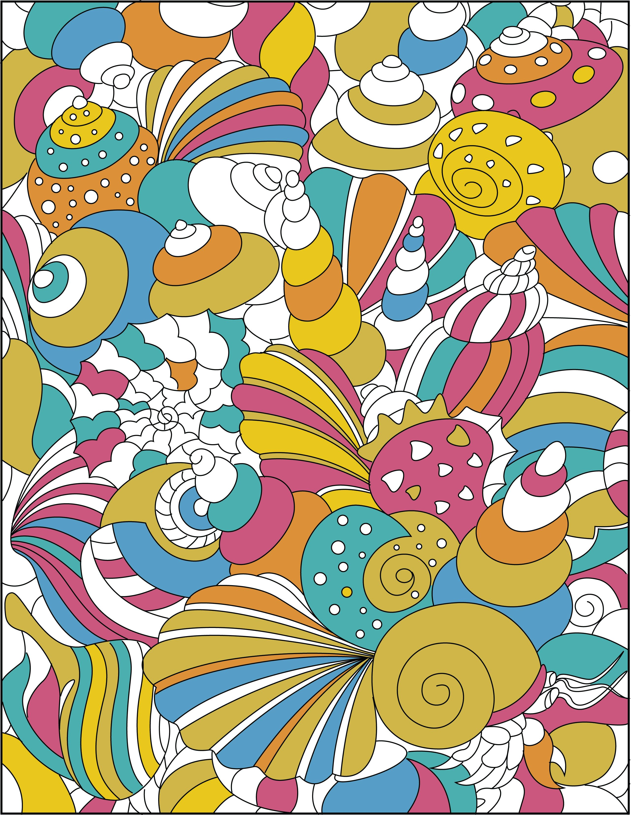 The coloring book of cards and envelopes flowers and butterflies - Shells From Creatively Calm Studios Geometric Shapes An Adult Coloring Book