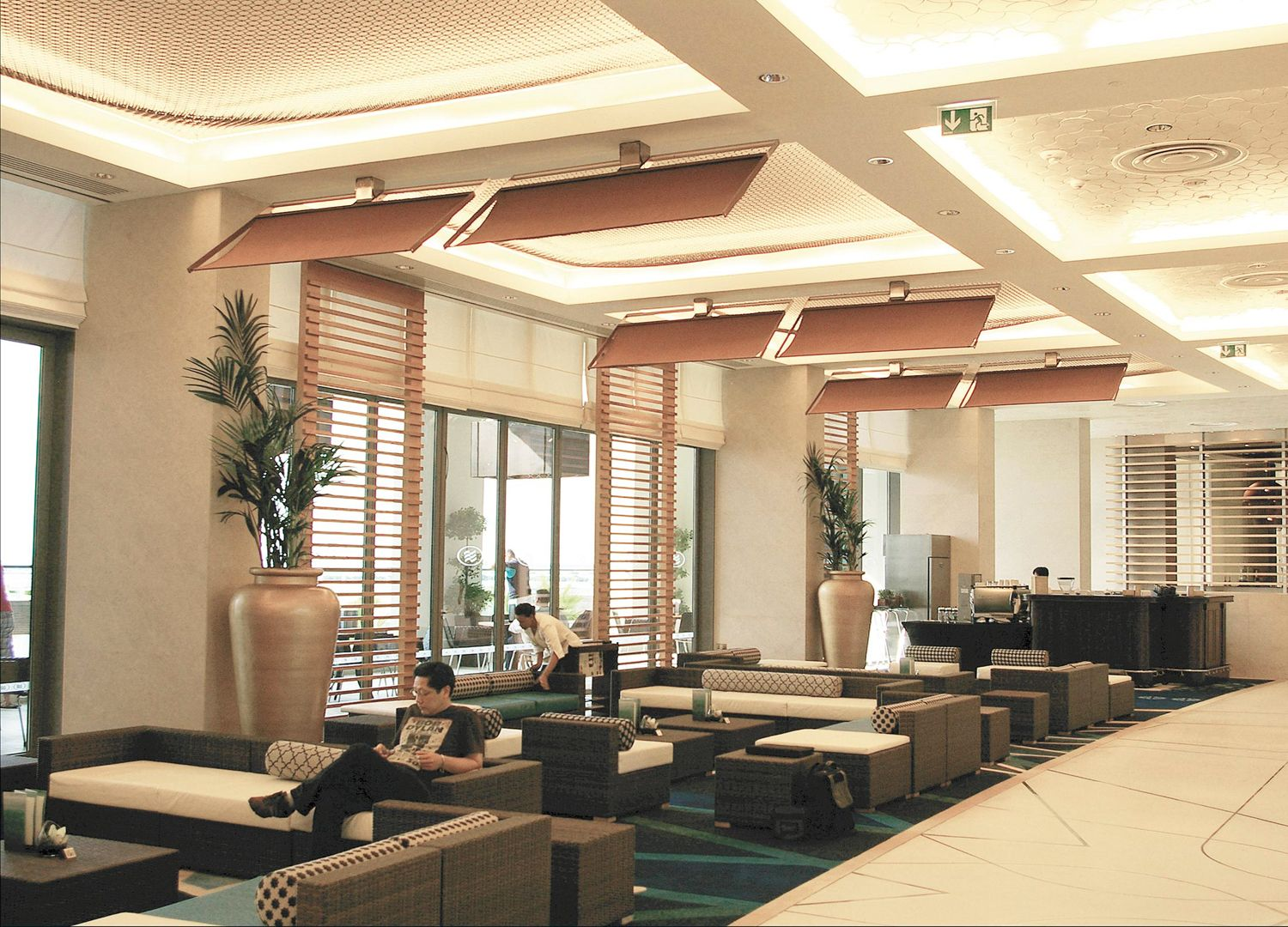 The Solitaire Punkah swinging ceiling fans at Crowne Plaza Abu Dhabi. All  fans are wirelessly