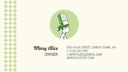 Retro green woman chef logo diamond pattern border business cards a collection of girly culinary cooking and chef business cards just for women ranging from cooking teachers and personal chefs reheart Images