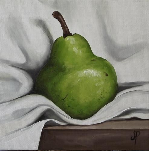 Pear on Cloth - Original Fine Art for Sale - © Jane Palmer