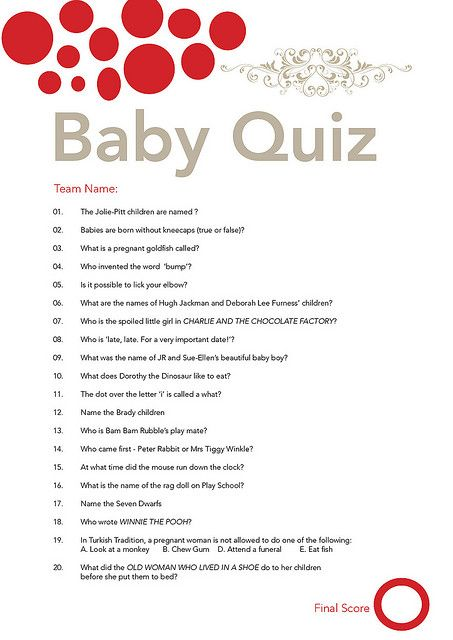 Baby Trivia Question : trivia, question, Shower, Quiz,, Questions,