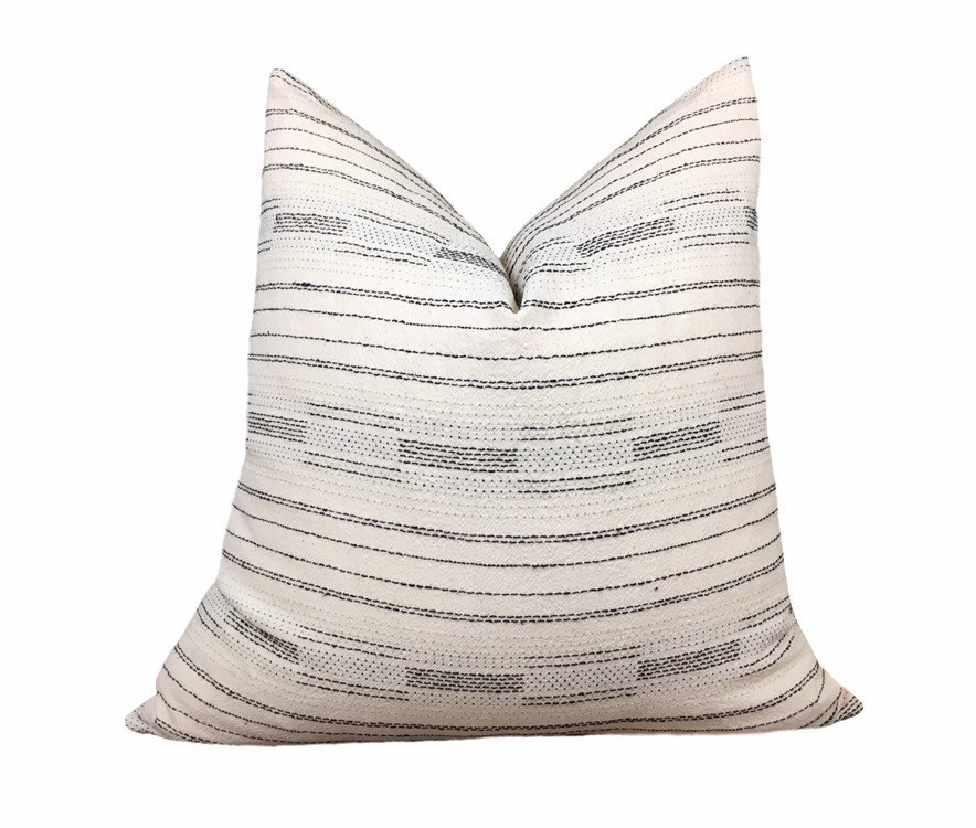 Woven Stripe Pillow Cover Stripe Linen Throw Cream And Etsy Farmhouse Pillows Pillows Black Pillow Covers