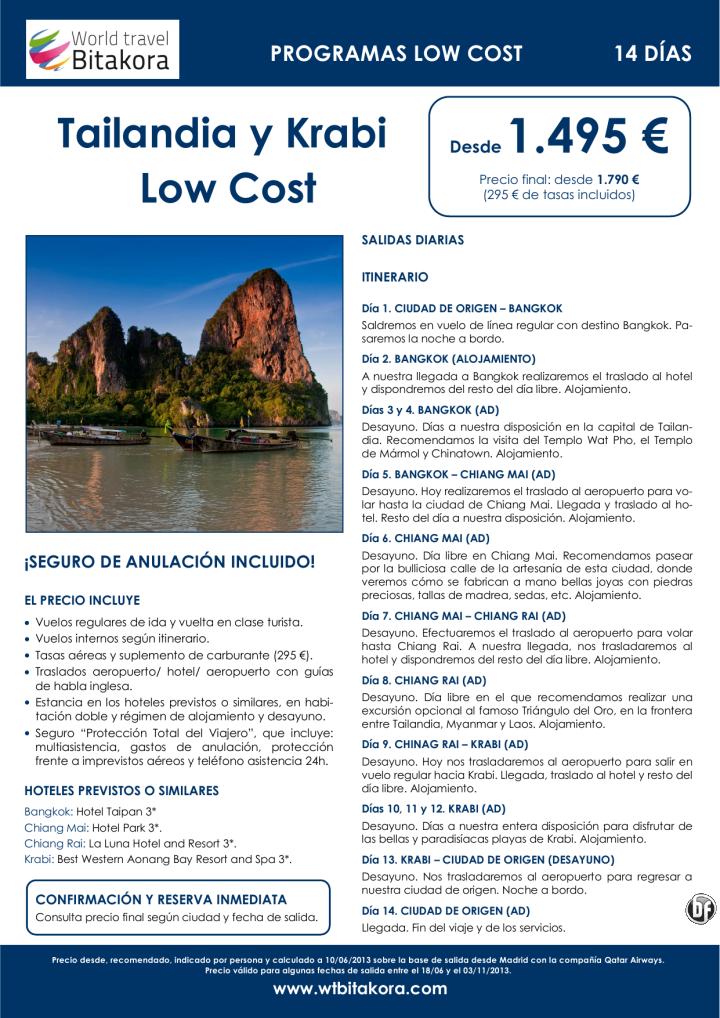 ¡Precios anticrisis! TAILANDIA Low Cost y Krabi: 14 días, desde 1.495 € + tasas - http://zocotours.com/precios-anticrisis-tailandia-low-cost-y-krabi-14-dias-desde-1-495-e-tasas/