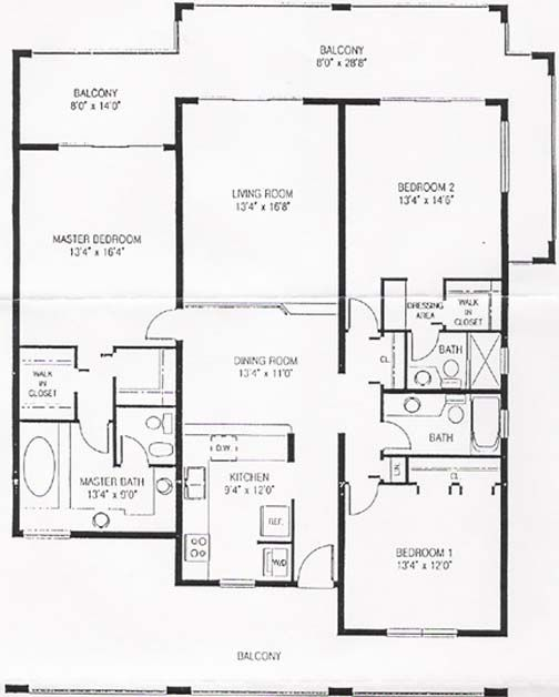 Luxury condo floor plans floor plan of 3 bedroom condo for Condominium floor plan