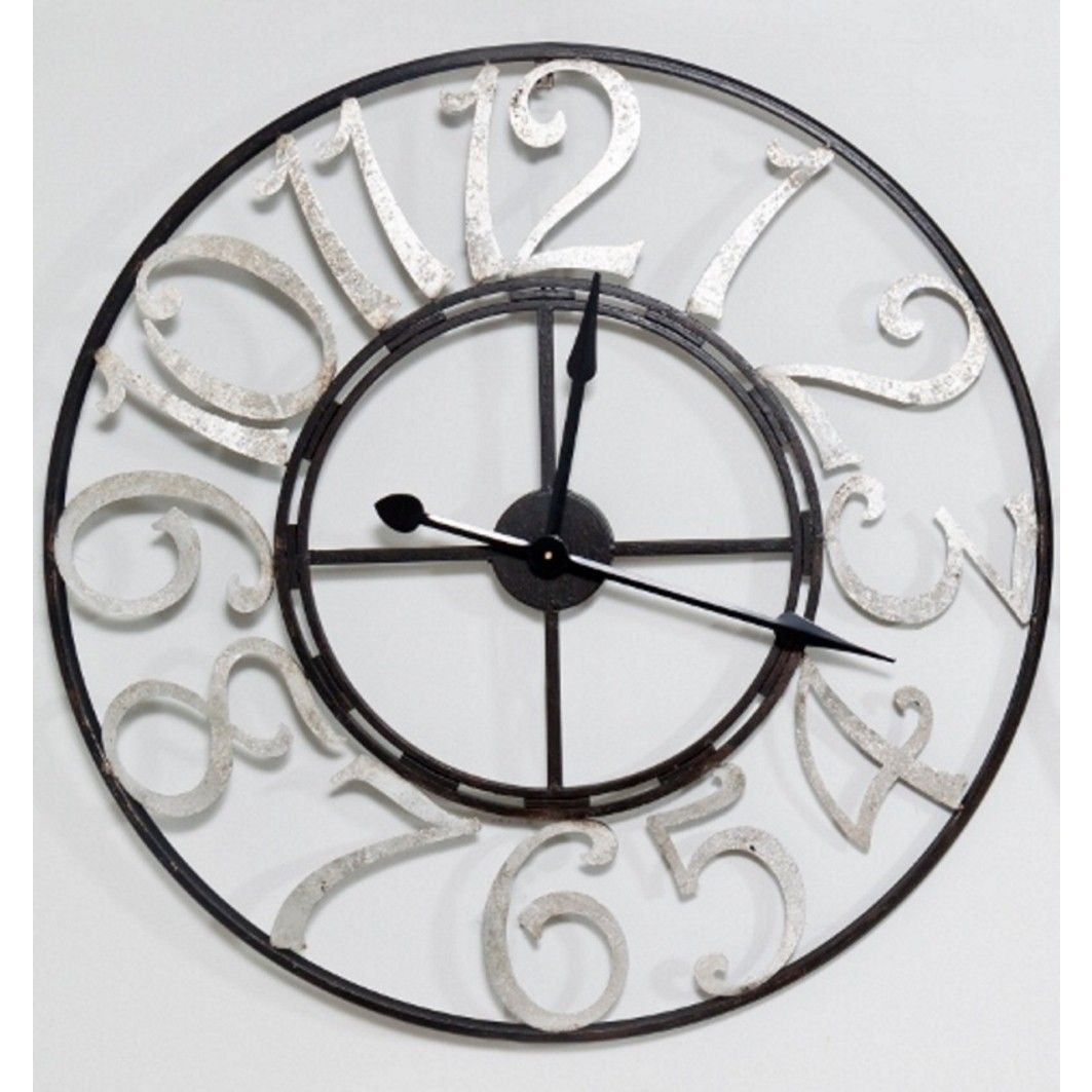 Large Metal Wall Clock - Black With Silver Numbers - PC Accessories ...