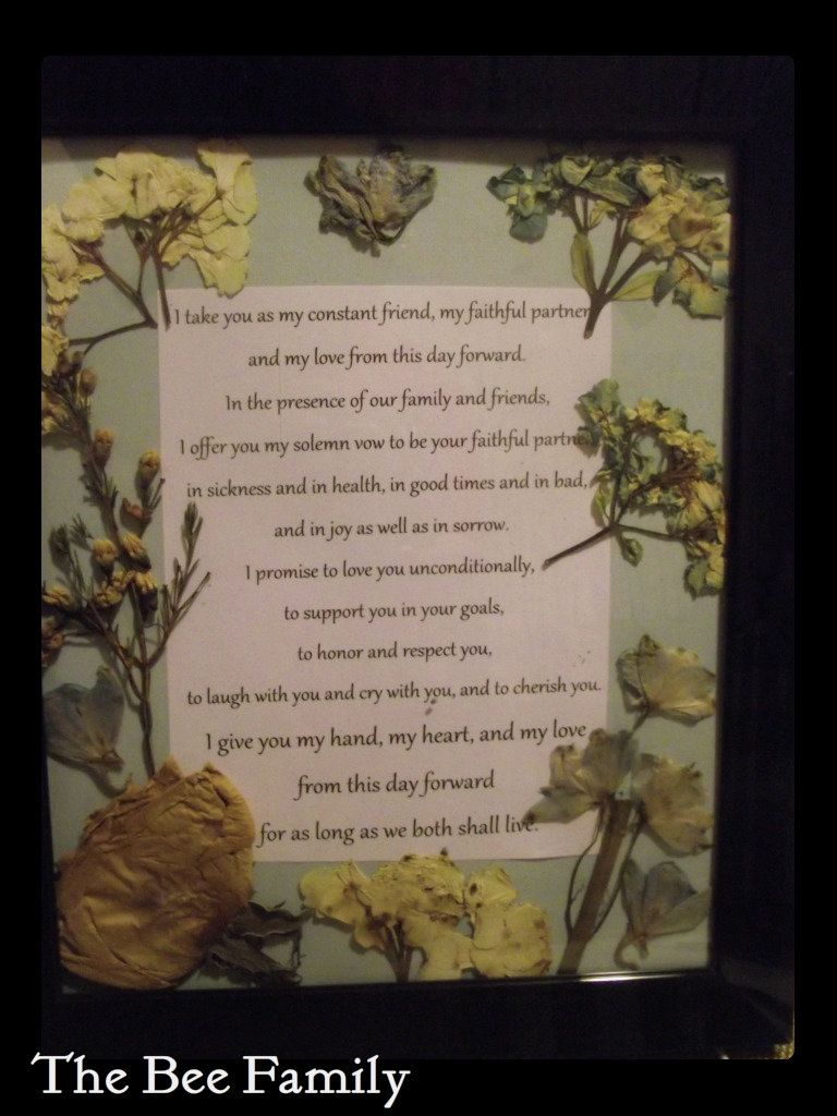 Dried flowers from my wedding bouquet framed with our wedding vows dried flowers from my wedding bouquet framed with our wedding vows dhlflorist Gallery
