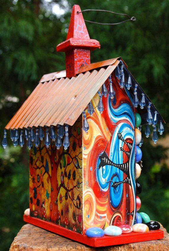 ornate birdhouse | Decorative Tree and Stone Birdhouse by TheVelvetRobyn on Etsy, $50.00