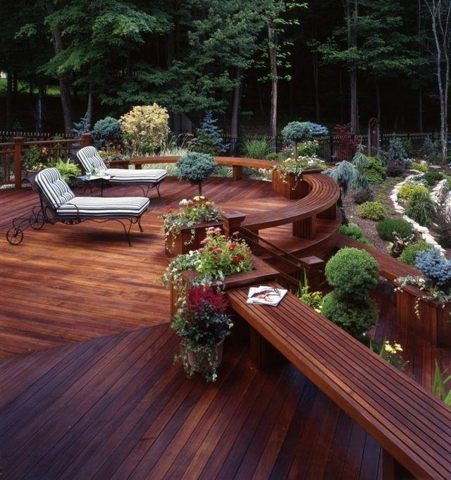 Holz Terrasse Runde Form Sitzbank Baumkubel Wohnen Pinterest