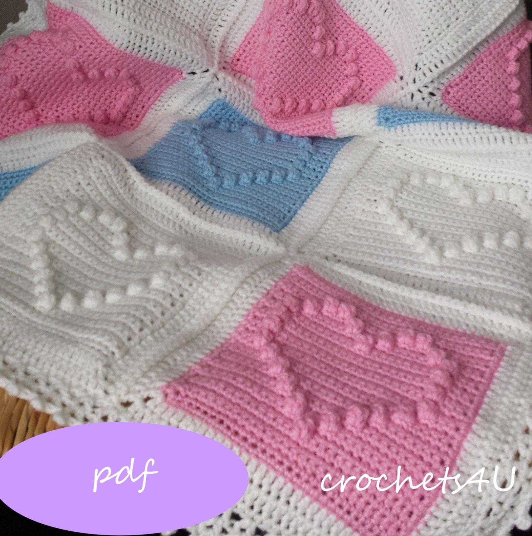 Crochet pattern heart afghan crochet blanket pattern baby beb crochet pattern heart afghan crochet blanket pattern baby bankloansurffo Choice Image