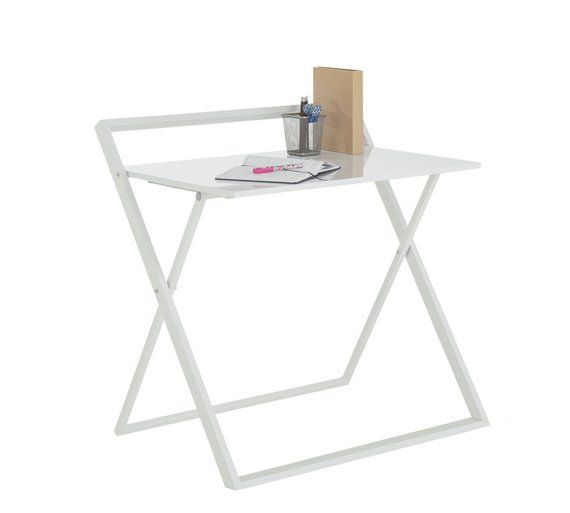 Argos Fold Away Table And Chairs: Buy Argos Home Compact Folding Office Desk - White