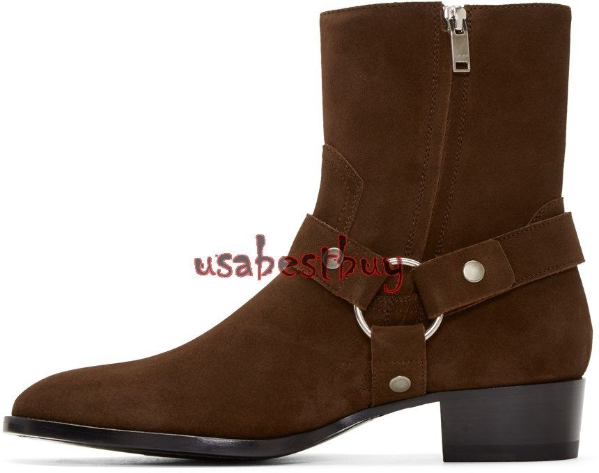 New Handmade Latest Style High Ankle Suede Leather Dark Brown Boots