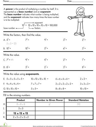 Exponents Practice Worksheet Education Com Middle School Math Homeschool Math Exponent Practice