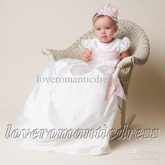 Christening Gowns Babies Dress With Pink Sash   Christening Gowns ...