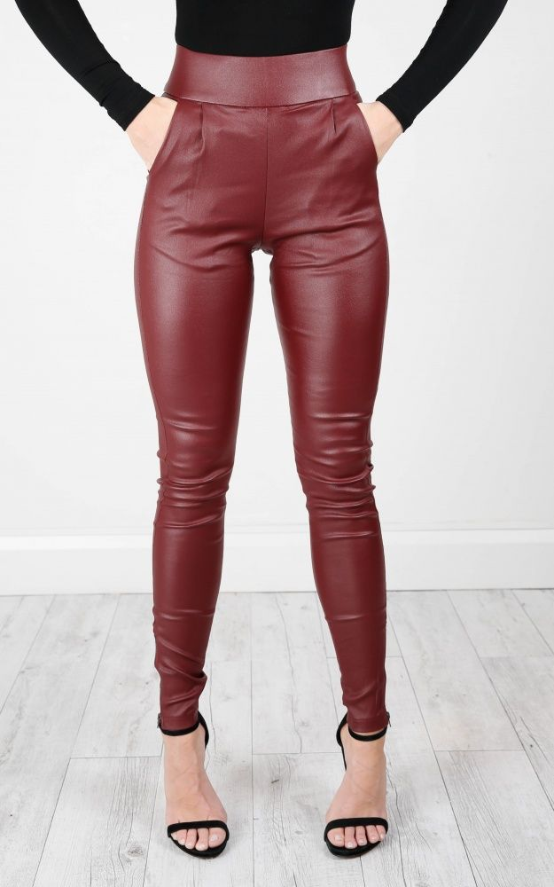 High waisted wine red faux leather locomotive jeans plus size tight skinny  leather pants full length fashion slim leather jeans  c62a075203f9