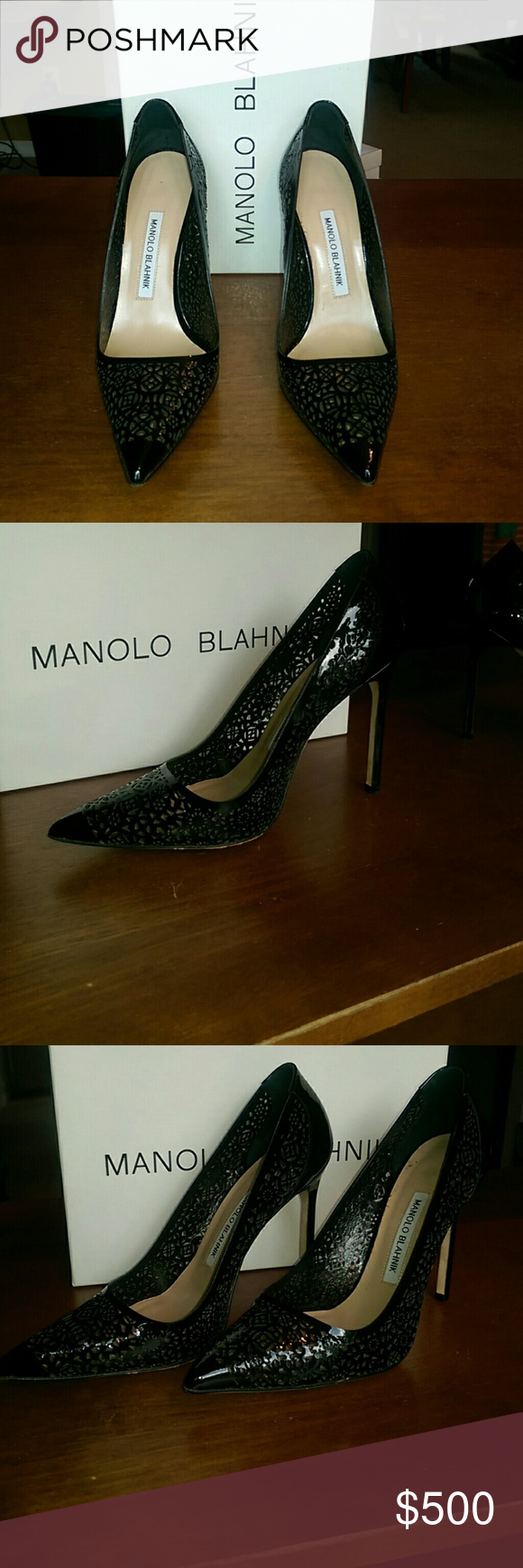 Manolo Blahnik Black Patent Laser Cut Pump Manolo Blahnik Black Patent Laser Cut Pump. Runs 1 size small. If you wear a size 8, these will fit perfectly. These shoes have a narrow fit. 4 inch heel Manolo Blahnik Shoes Heels