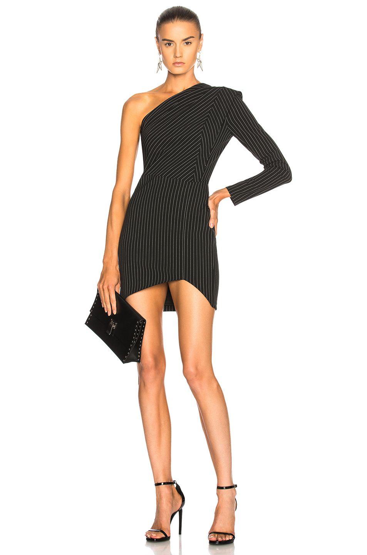 bc6945efcc4fa Michelle Mason One Sleeve Dress in Pinstripe
