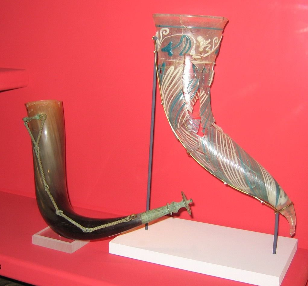 Vendel Era Bronze Horn Fittings And Glass Drinking Horn On Display At The Swedish Museum Of National Antiquities Horns Ale Horn Glass