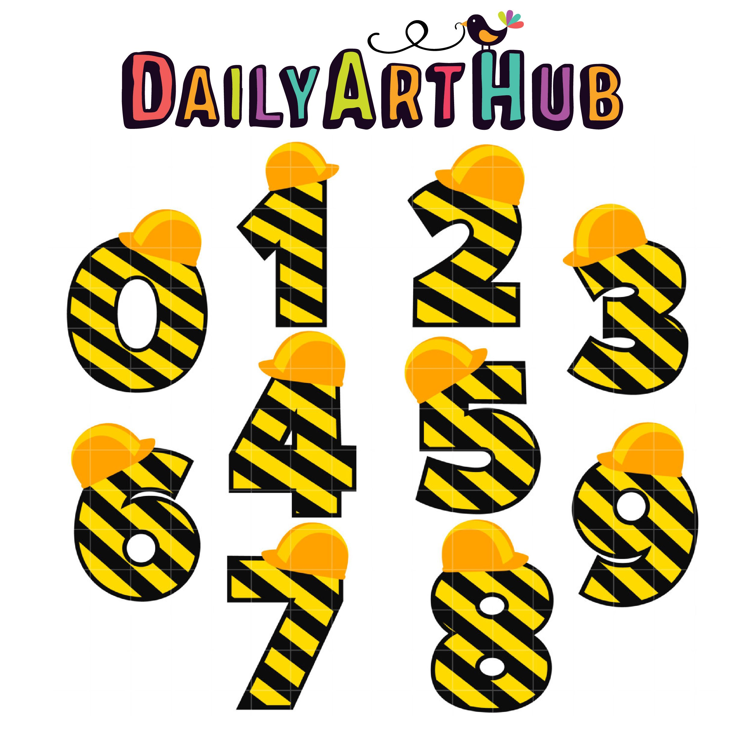 Construction Numbers Clip Art Set Daily Art Hub Free Clip Art Everyday Construction Theme Party Construction Theme Birthday Party Clip Art