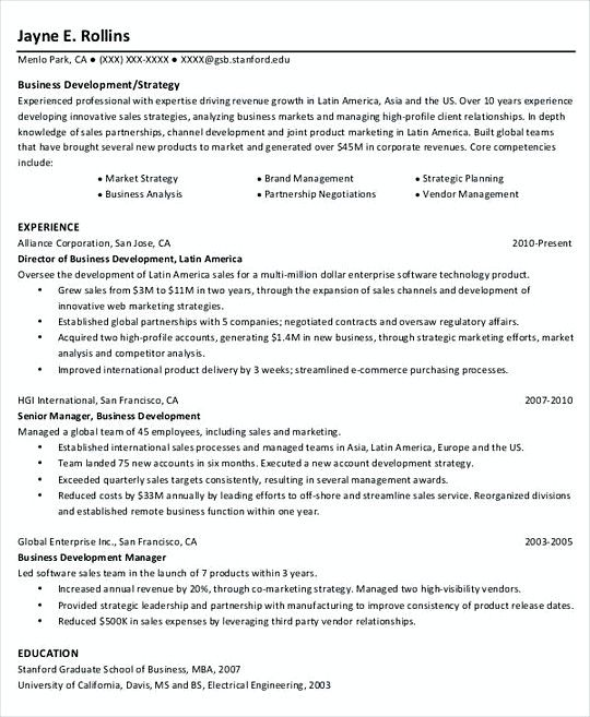 Business Project Manager resume template , Professional Manager - business development resume sample