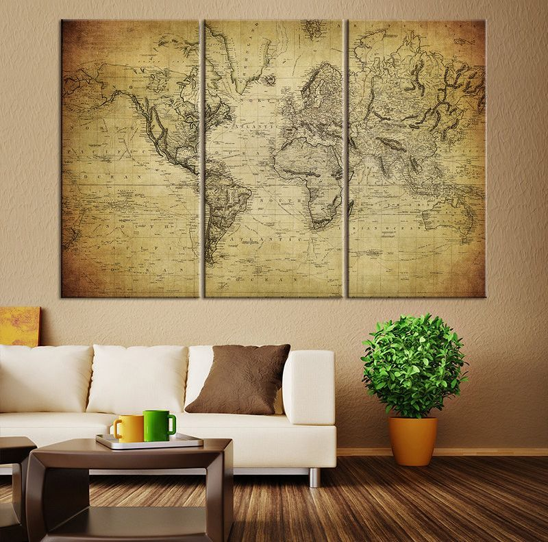 Large Canvas Print - Vintage Map of the World, Vintage 3 Panel Map ...