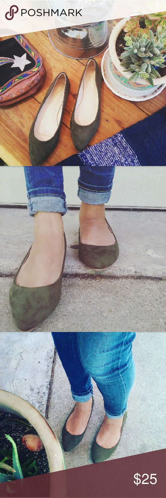 //The Spencer// Olive green pointy toe Flats Brand new Never been worn  Comes in original box No trades  Price is firm Many more sizes available Shoes Flats & Loafers