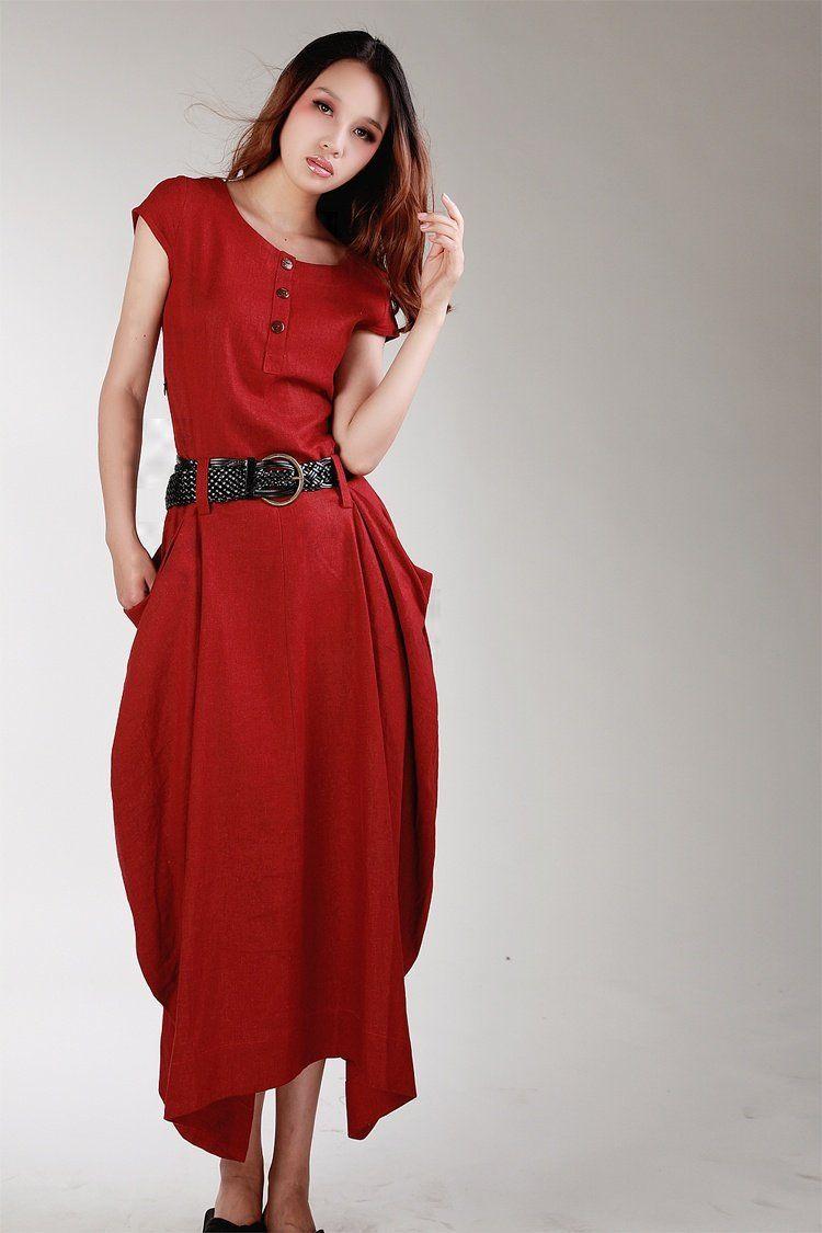 D dark red color short sleeve long linen dress new free