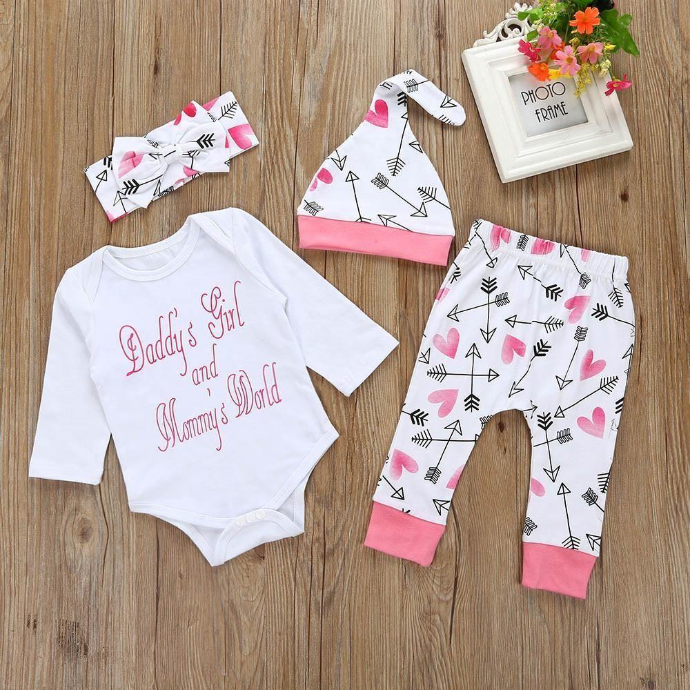 Infant Baby Girl Clothes Sets Little Sister 4pcs Outfits Romper Pants Headband Hat Autumn Winter Floral Bodysuits
