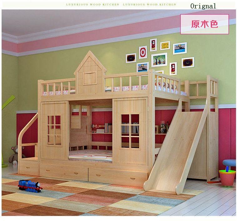 2016 moderno para ni os de madera maciza cama litera con for Literas de madera para ninos