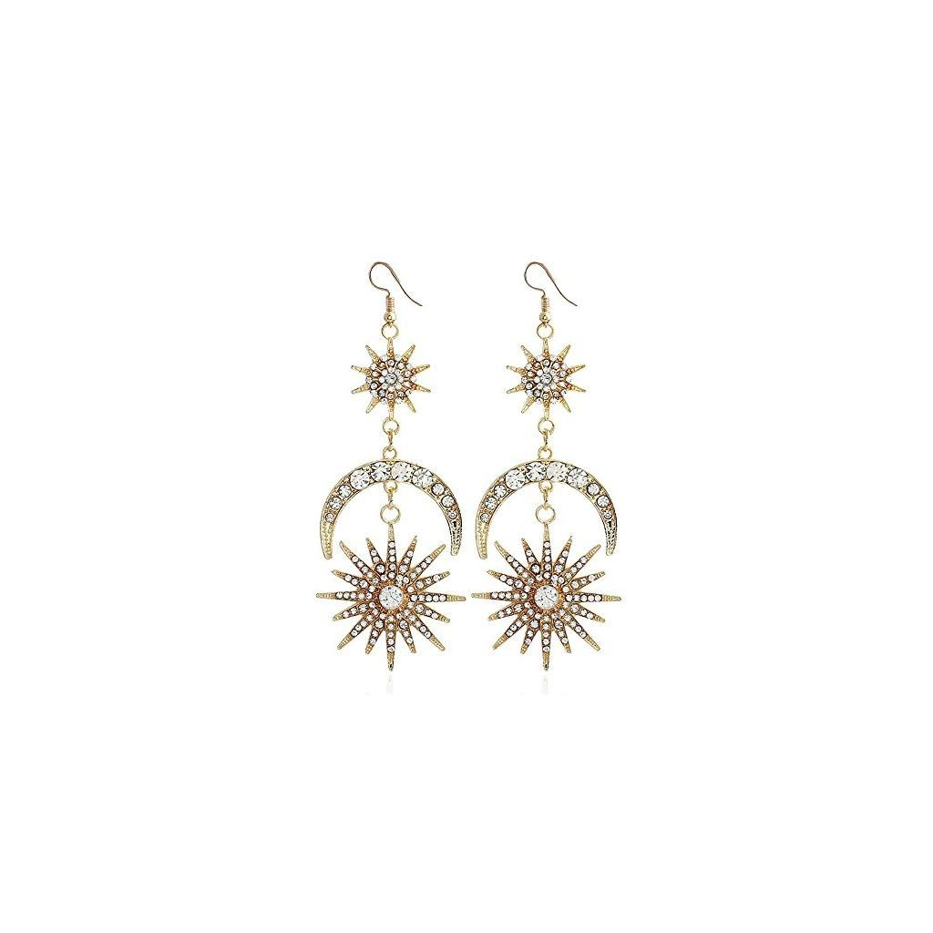 Heiress Gold Moon Drop Earrings