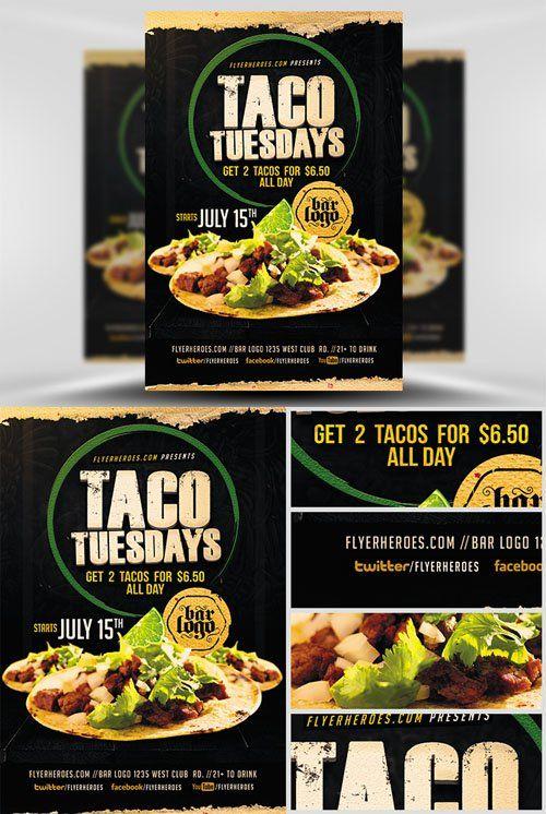 Flyer Template - Taco Tuesdays Pinterest Taco tuesday, Flyer