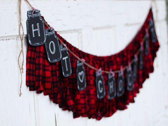 Lumberjack Banner Merry Christmas Buffalo Red and Black Check   Buffalo check christmas decor ...