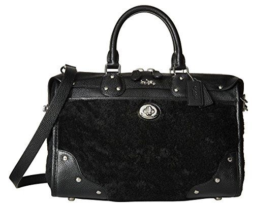 Coach Black Leather Shearling Rhyder Satchel Handbag A Special Gift From My Hubby For When