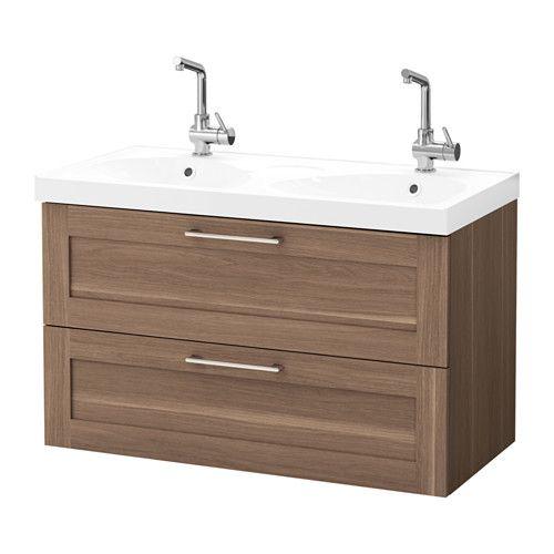 GODMORGON / EDEBOVIKEN Meuble lavabo 2tir, noyer noyer 100x49x64 cm