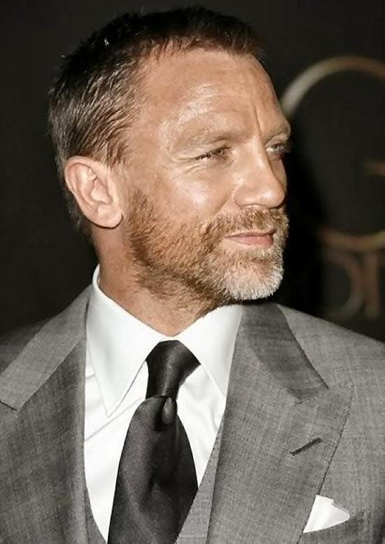 Daniel Craig > a handsome bearded man. He's a silver fox!