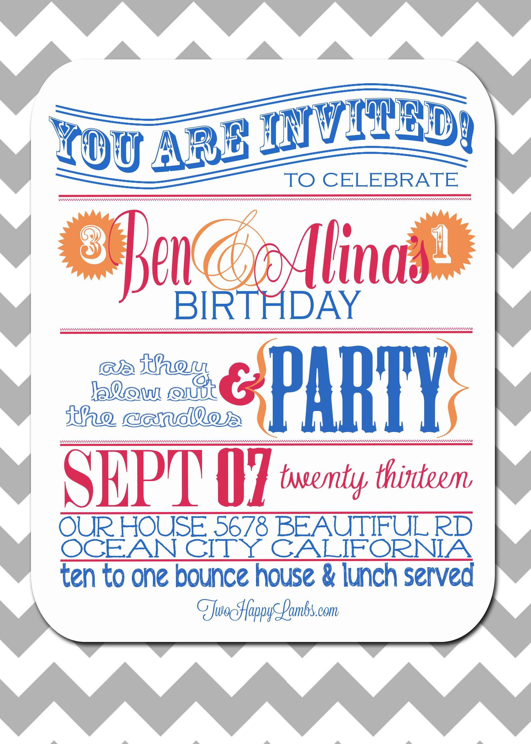 Birthday Invite For Multiple People