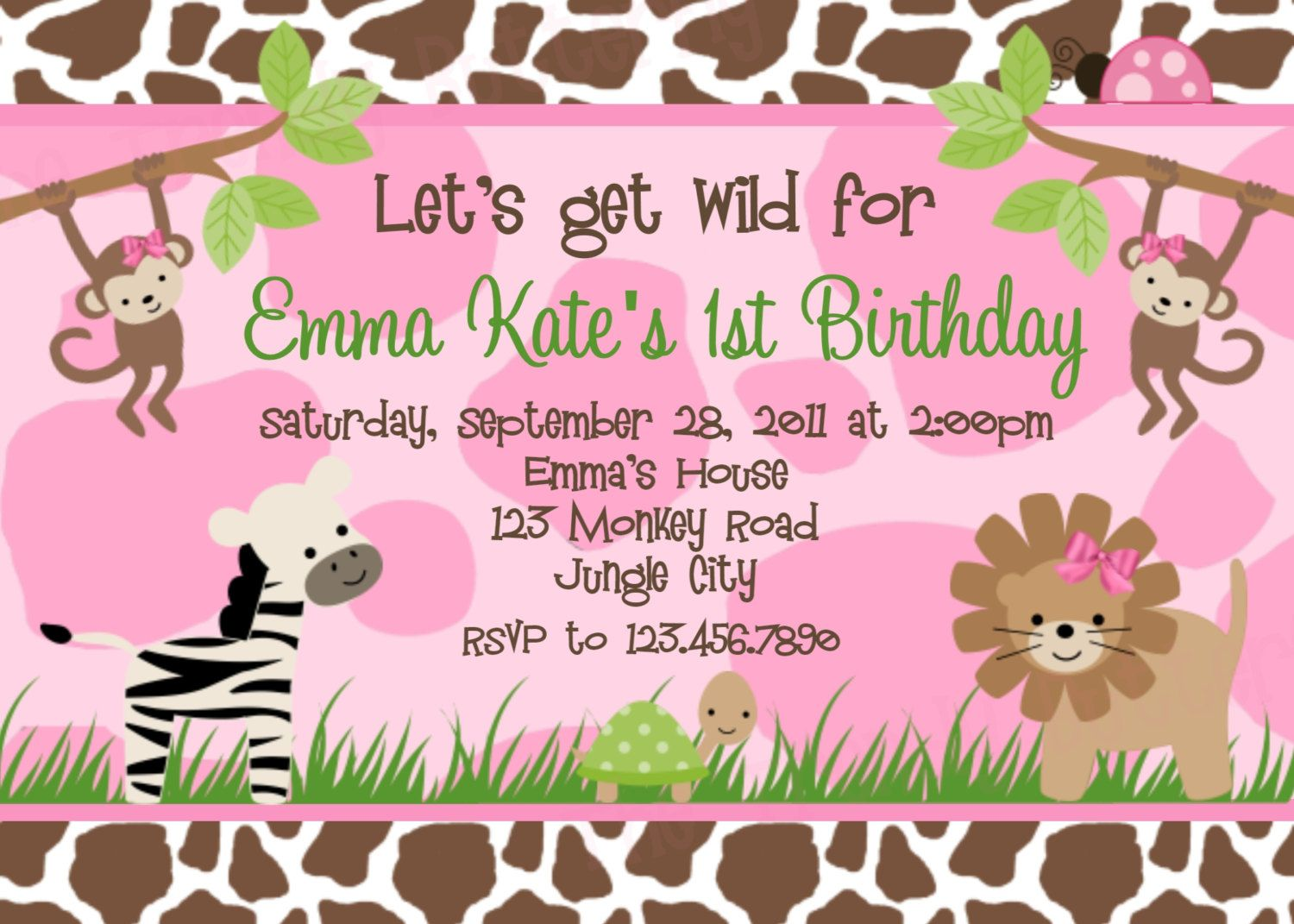 Safari Birthday Invitation Pink Safari Birthday Party Invite ...