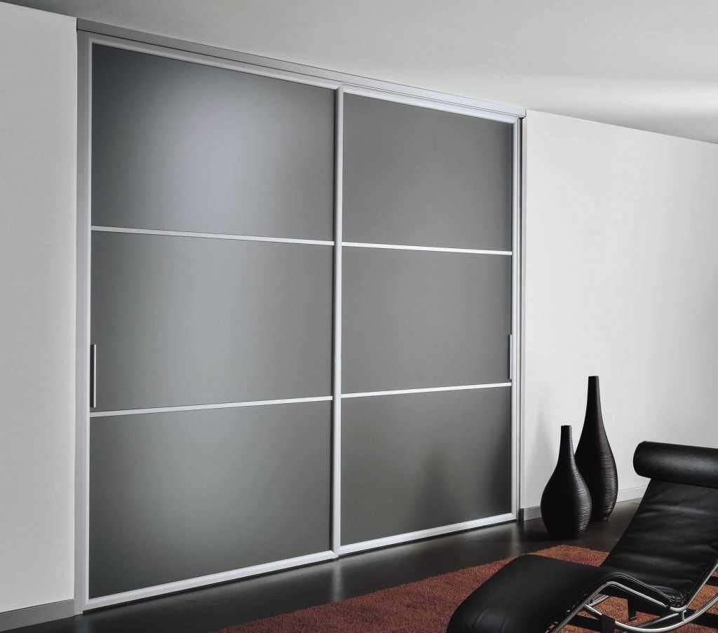 Grey And White Wardrobe Sliding Door Wardrobe With Frosted Glass And Silver