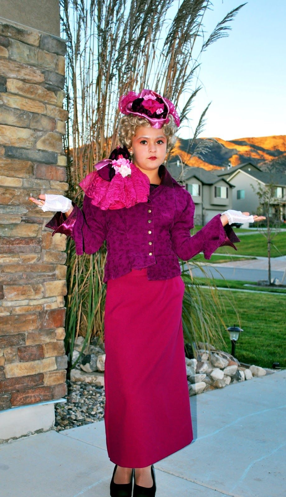 Effie Trinket costume from secondhand store finds with a bit of ...