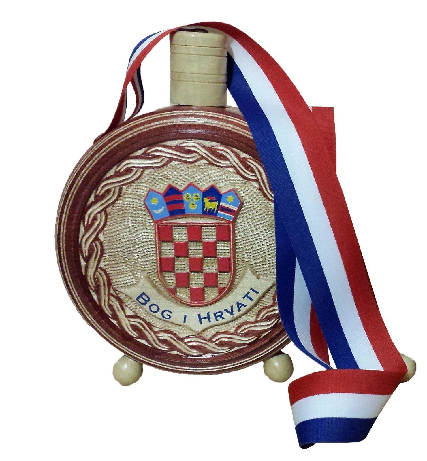 Croatian Cuturica New Grb Bog I Hrvati Wooden Flask Handcrafted 500ml Handcraft Auction Gift Basket Ideas Flask