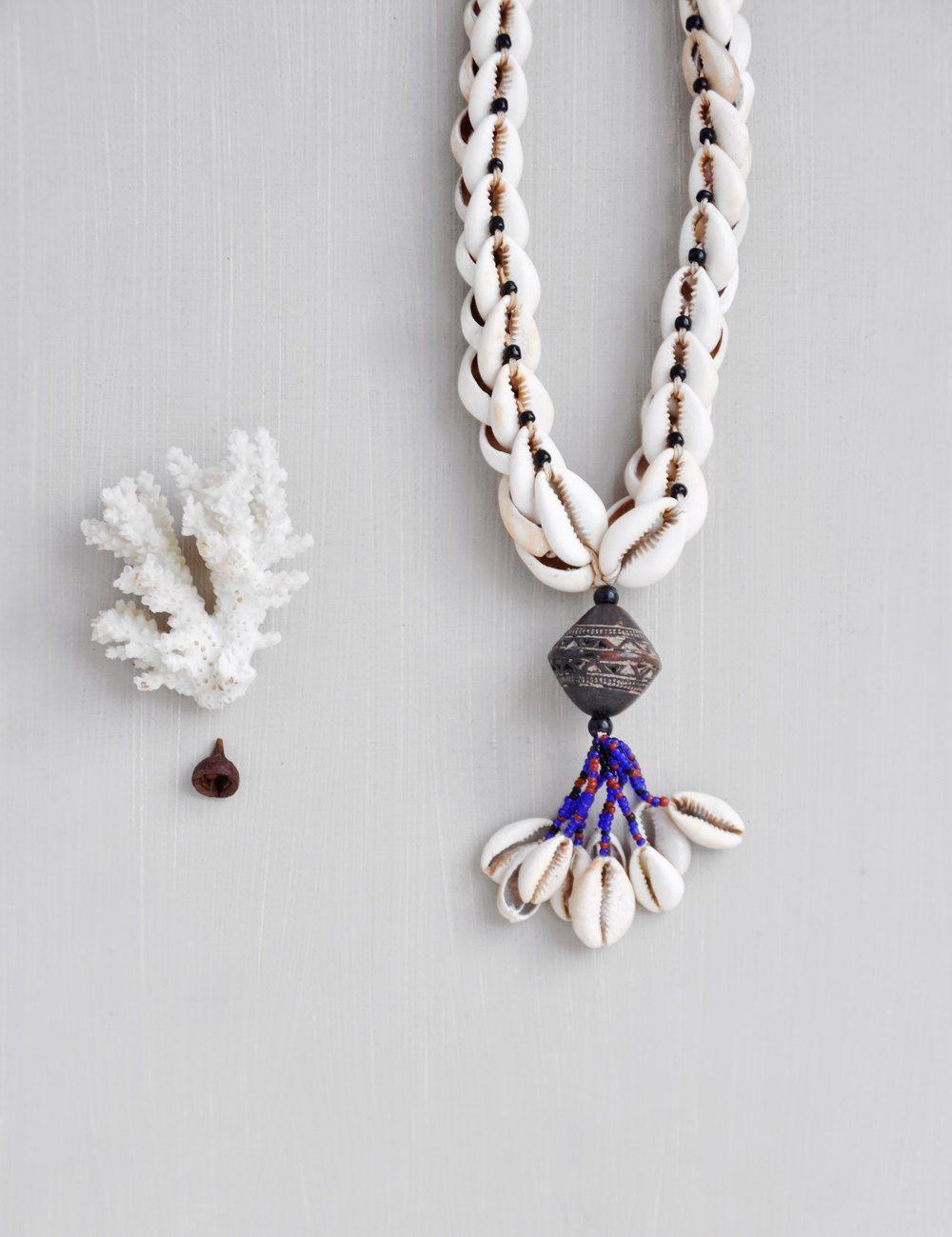 Vintage Cowrie Shell Necklace  Seashell Tassel Pendant  Tribal Boho  Jewelry