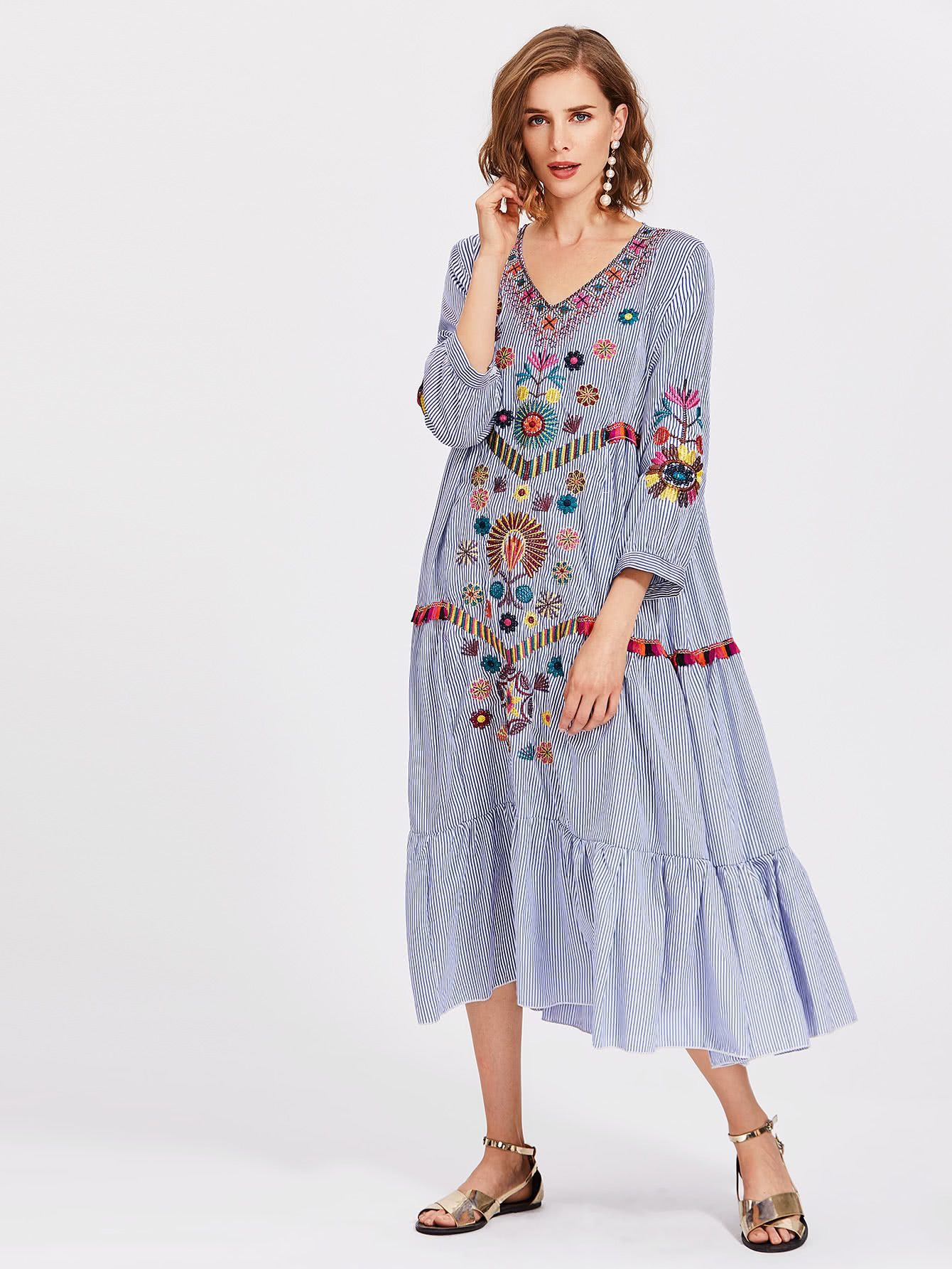 Vertical Striped Flower Embroidered Frill Hem Dress Shein Sheinside