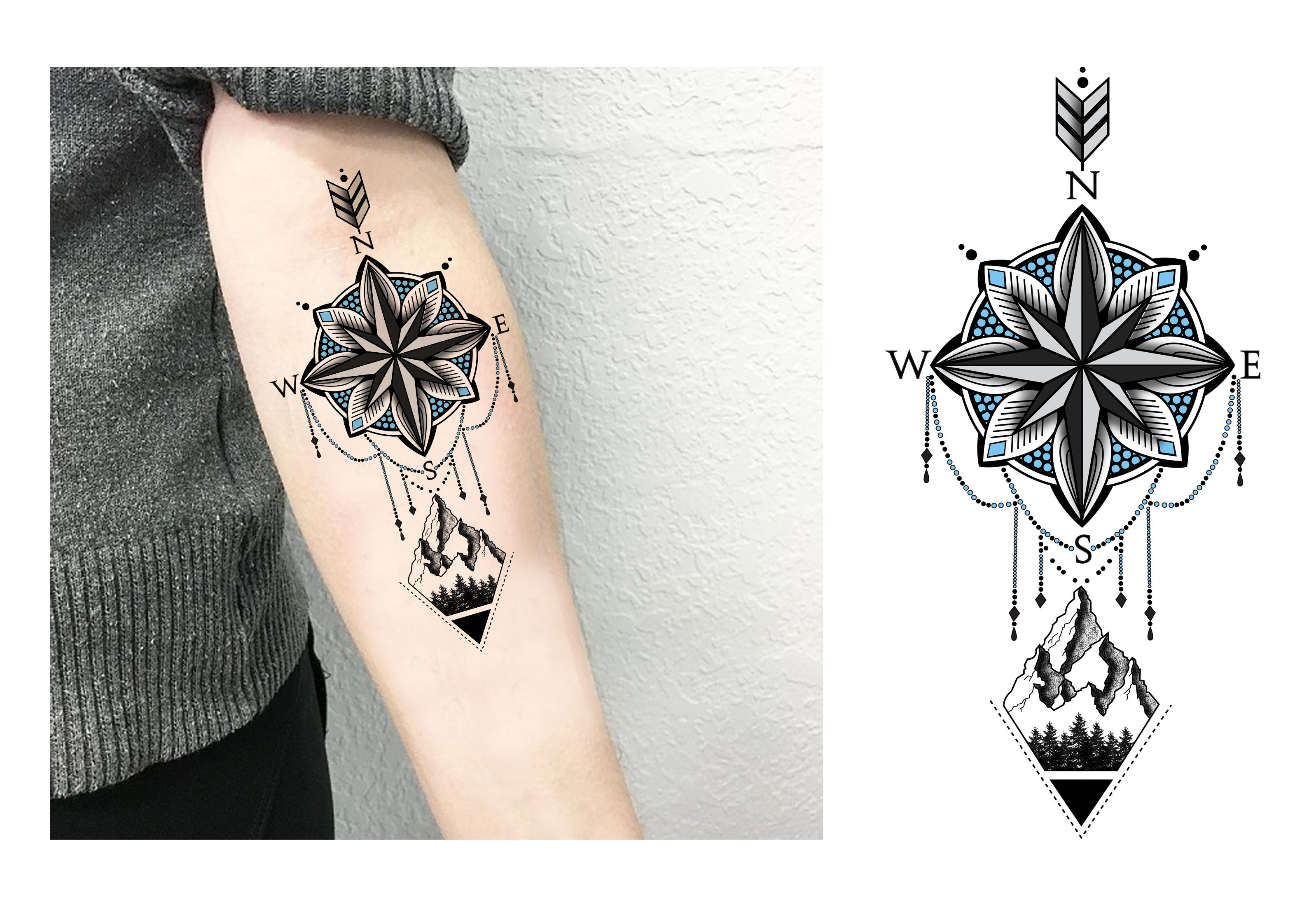 Compass Mandala Nature Dotwork Forearm Blackwhite Tattoo