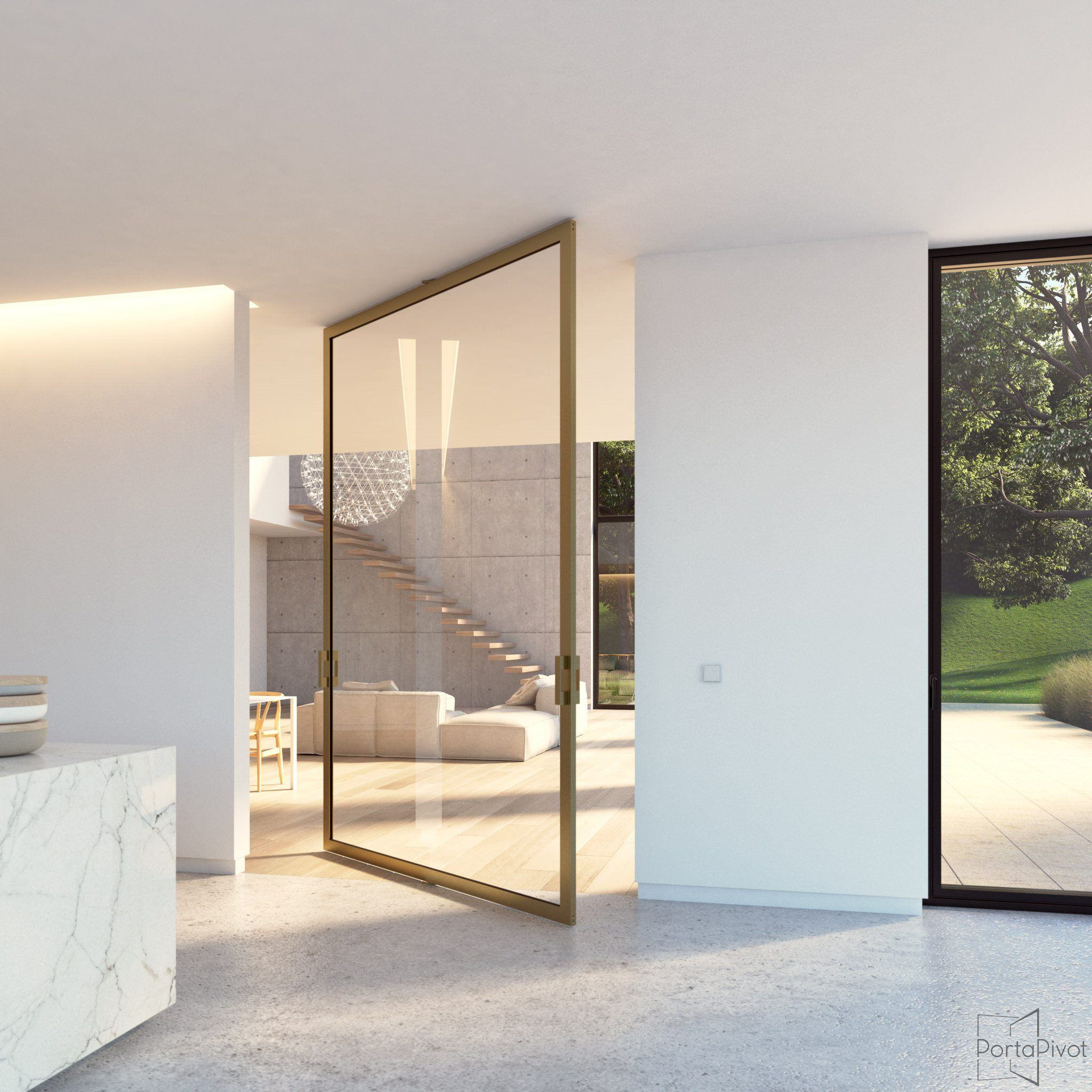 Large glass pivot door with a bronze anodized aluminium frame and a ...