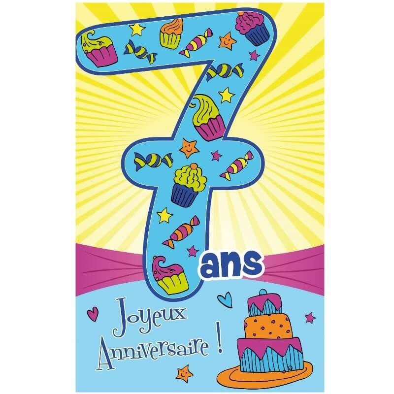 carte anniversaire 7 ans garçon Carte D'anniversaire Fille 7 Ans Unique Carte D Anniversaire