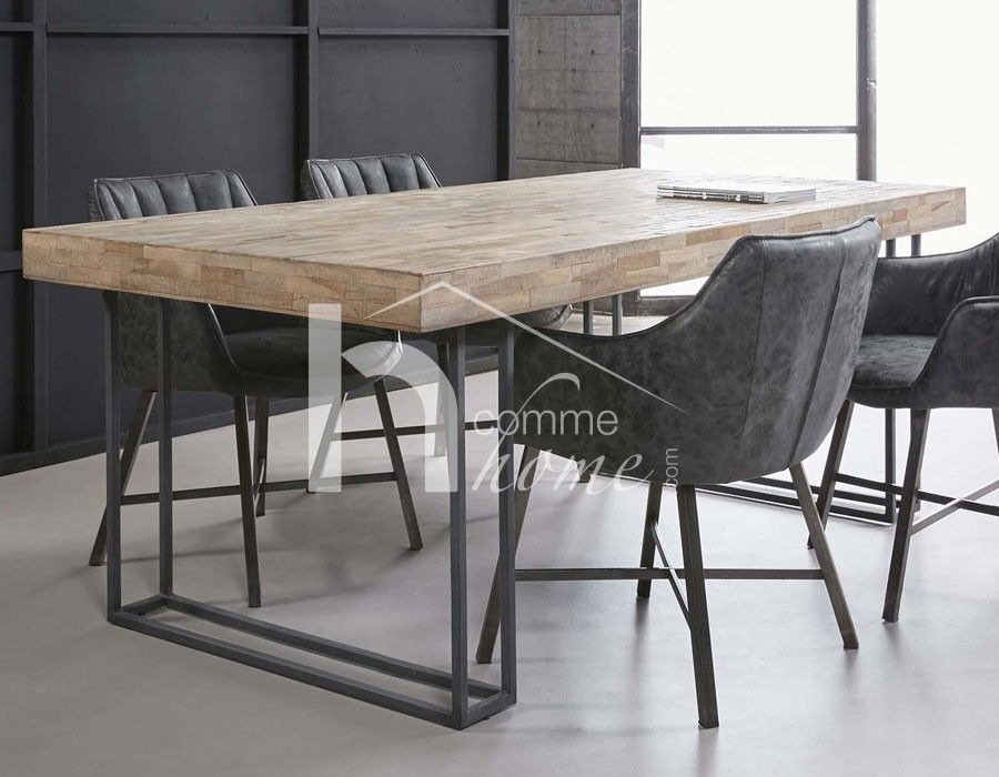 table manger industrielle en teck et m tal franklin meuble industriel pinterest teck. Black Bedroom Furniture Sets. Home Design Ideas