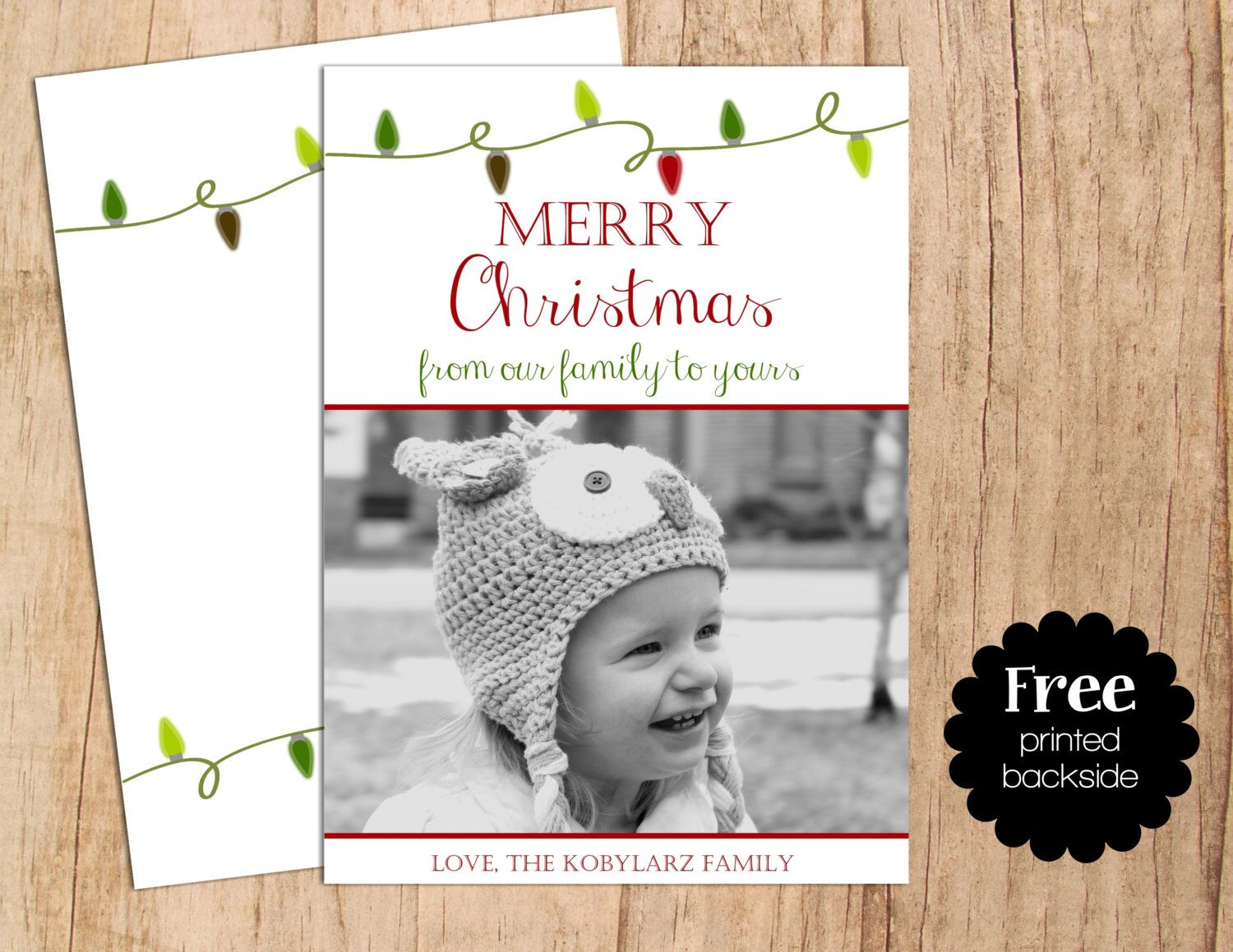 merry christmas holiday lights personalized photo holiday card