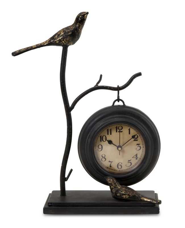 IMAX Home 16159 Bird And Branch With Hanging Clock Home Decor Clocks Desk  Clocks