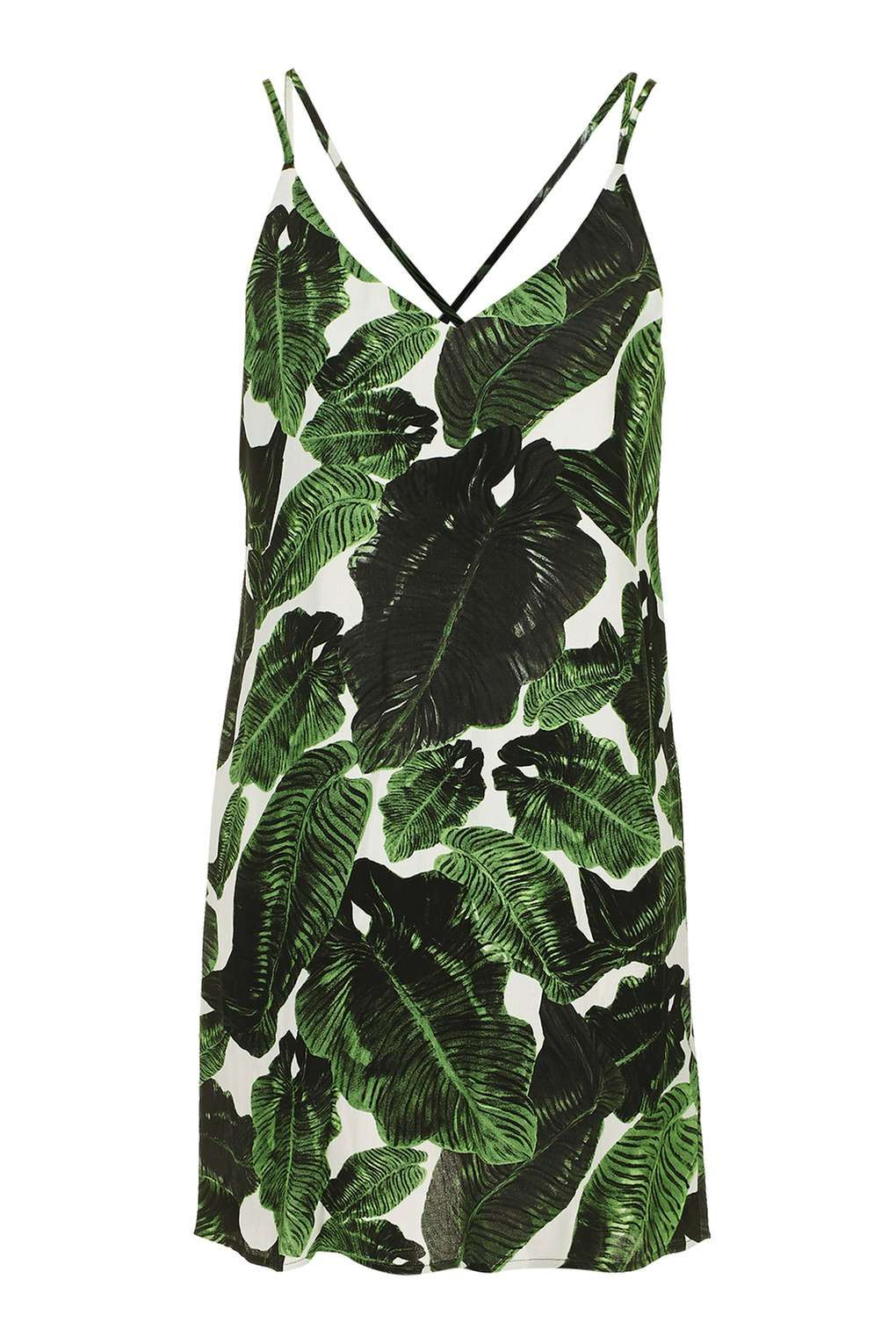4aa9f987da7c TALL Cross Back Palm Print Slip Dress | Clothing | Palm tree dress ...