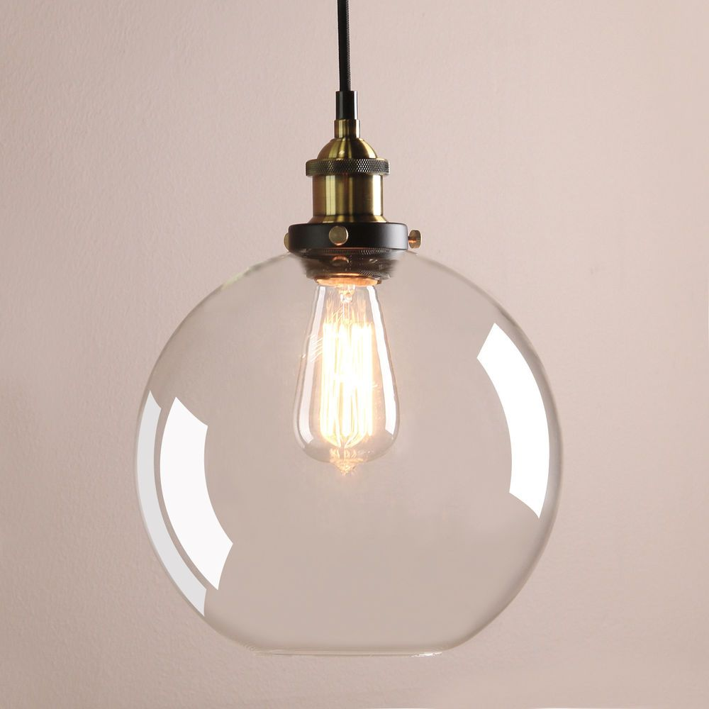 Permo New Clear Glass Vintage Industrial Ceiling Pendant Light